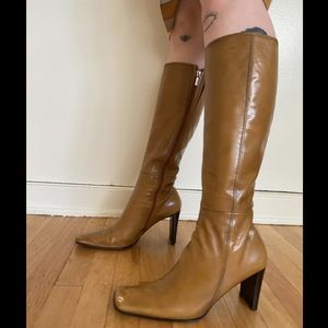 Vintage 90s leather square toe funky heel boots